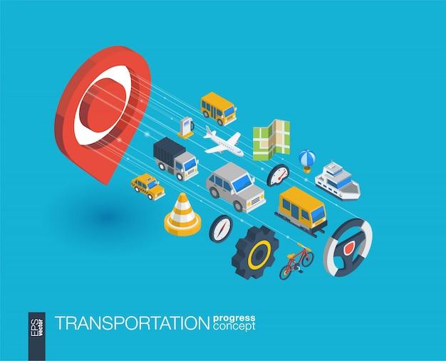 Transportintegrierte web-symbole. isometrisches fortschrittskonzept für digitale netzwerke. verbundenes grafisches linienwachstumssystem. abstrakter hintergrund für verkehr, navigationsdienst. infograph