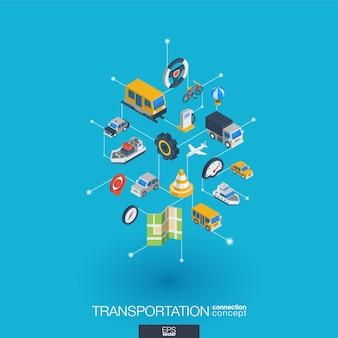 Transportintegrierte web-symbole. isometrisches interaktionskonzept für digitale netzwerke. verbundenes grafisches punkt- und liniensystem. abstrakter hintergrund für verkehr, navigationsdienst. infograph