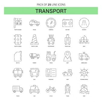 Transportlinie-ikonen-satz - 25 gestrichelte entwurfs-art