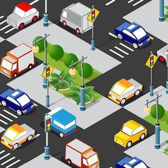 Transportlogistik 3d isometrische stadt illustrierte vorlage infografiken industrieinfrastruktur in konzeptioneller illustration
