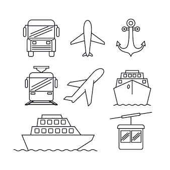 Transportmittel in monochromer silhouette