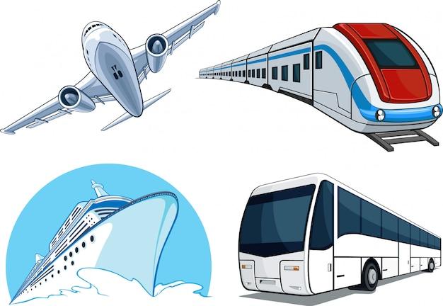Transportmodell - flugzeug, kreuzfahrtschiff, zug, bus