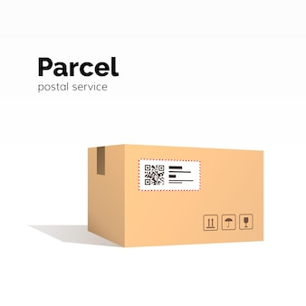 Transportpaket. kartonbehälter. qr-code, geschlossene paketbox, paketpapierbox. paketservice,