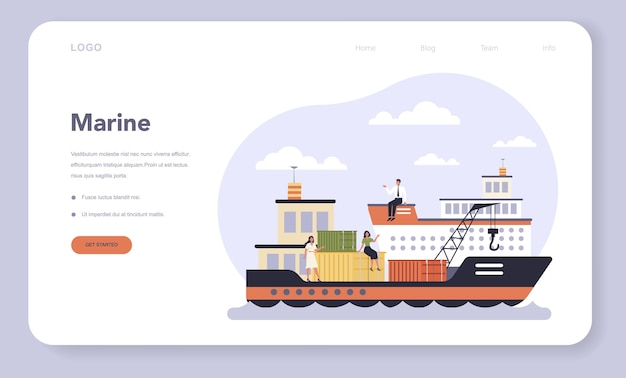 Transportsektor der wirtschaft webvorlage oder landing page. seetransport. frachttransportdienst. reise- und tourismusgeschäft.