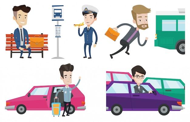 Transportvektorsatz mit reisenden personen.