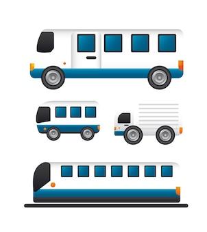 Transportwagen und bus-symbole