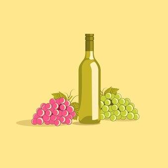 Trauben-wein-flaschen-und trauben-illustration