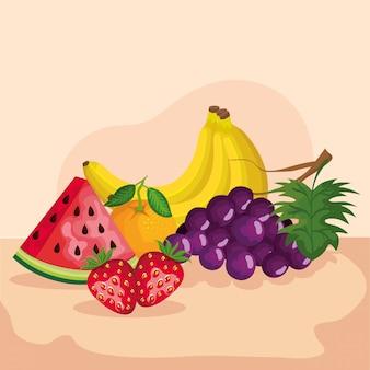 Traubenerdbeerwassermelonenorangen- und -bananenillustration, gesunder bonbon und natur des biologischen lebensmittels der frucht