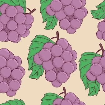 Traubenfrucht handgezeichnete vektor-illustration nahtlose muster
