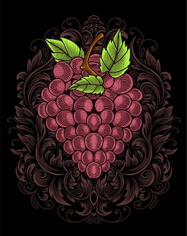 Traubenfrucht mit gravurverzierung