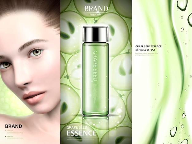 Traubenkern-anzeigendesign, charmantes modell mit traubenkern-essenz und gel-textur in 3d-illustration, grüner ton