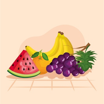 Traubenwassermelonenorangen- und -bananenillustration, gesunder bonbon und natur des biologischen lebensmittels der frucht