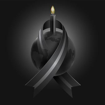 Trauer um den verlust vieler menschen durch epidemien, kriege, naturkatastrophen mit schwarzen bändern, die um die welt gewickelt sind, und schwarzen kerzen als symbol für traurigkeit und tod.