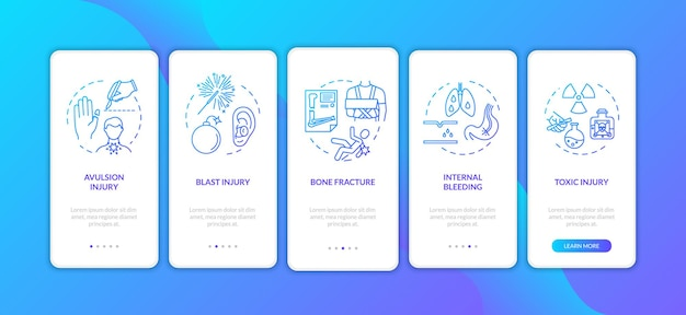 Trauma, avulsion und explosion onboarding mobiler app-seitenbildschirm mit konzepten. fraktur und innere blutung walkthrough 5 schritte grafische anweisungen. ui-vektorvorlage mit rgb-farbabbildungen.