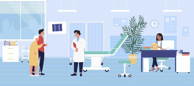 Traumatologie-checkup-vektorillustration, cartoon alte patientin und manncharaktere besuchen arzttraumatologen
