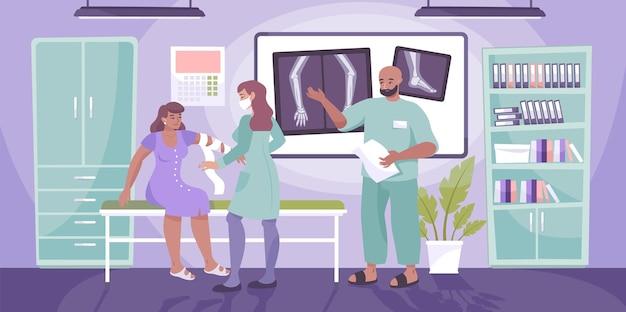 Traumatologie-klinik-arztzusammensetzungspatient mit gebrochenem arm sitzt im traumatologenbüro