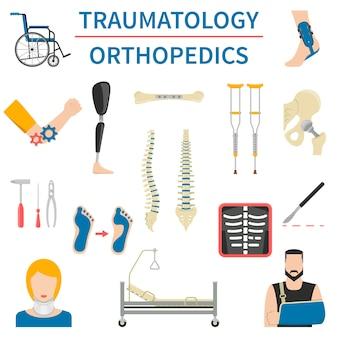 Traumatologie und orthopädie icons