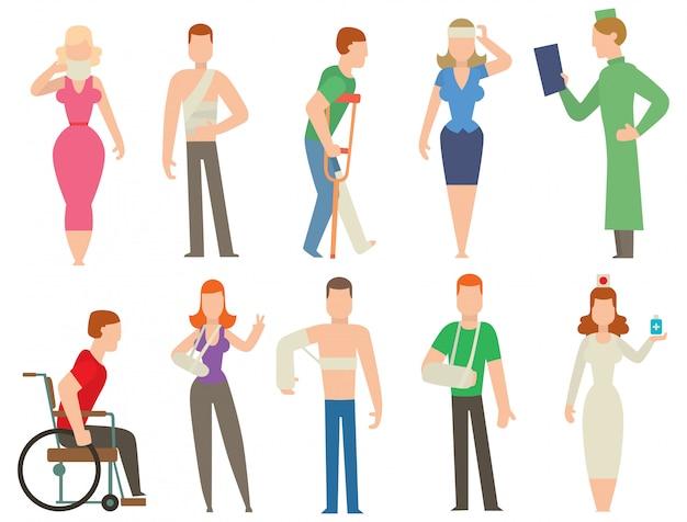 Traumaunfall und sicherheit des menschlichen körpers vector leuteschattenbild
