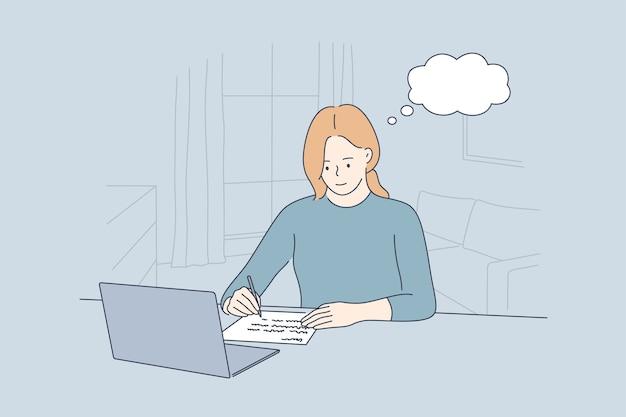 Traumgeschäft freiberufliche idee dachte arbeitserziehung konzept.
