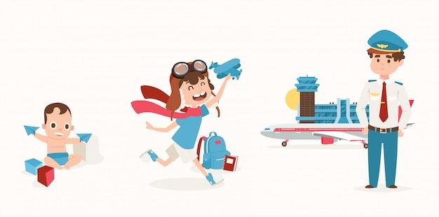 Traumjob, mann aus der kindheit liebte flugzeug, set illustration. kind spielt mit würfeln, papierflugzeug. junge charakter phantasieren