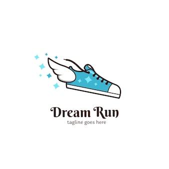 Traumlaufschuh mit flügellogo-icon-vorlage