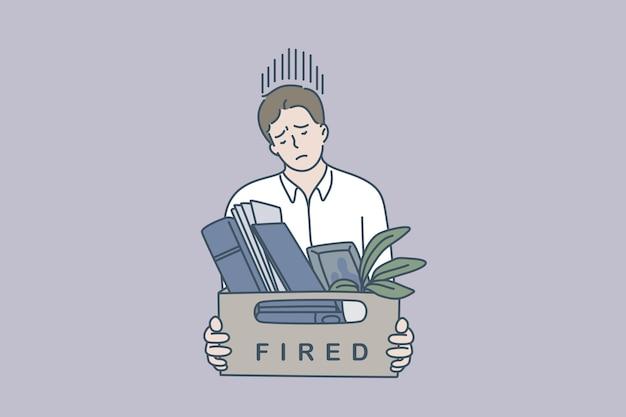 Traurig, gefeuert zu werden. junger arbeiter, der sich gestresst fühlt, wenn er gefeuert wird und eine kiste mit gegenständen-vektor-illustration hält