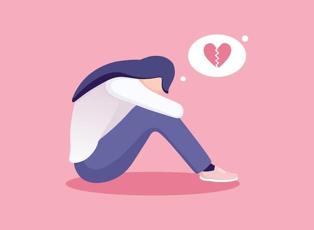 Traurige einsame frau in der depression. junges unglückliches mädchen, das sitzt und ihre knie umarmt. depressiver teenager