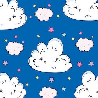 Traurige flauschige wolken mit schönheitssternen