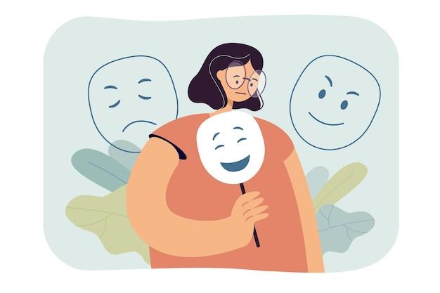 Traurige frau, die gefühle unter der flachen illustration der maske versteckt.