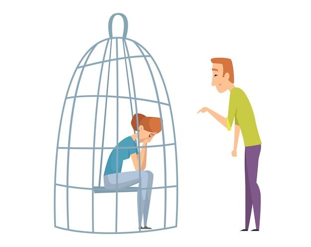 Traurige frau im käfig. häusliche gewalt, mann lacht trauriges mädchen. ehefrau ehemann, ungesunde familienvektorillustration. mädchen im käfig, fraueneinsamkeit, alleiniges charakterkonzept