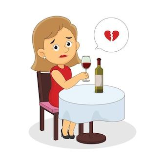 Traurige frau mit gebrochenem herzen, die allein zum valentinstag sitzt