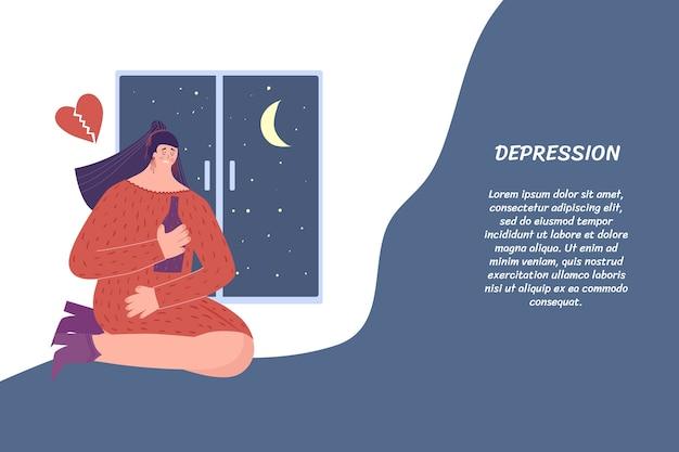 Traurige frau trinkt wein. depression, einsamkeit. mit platz für ihren text.