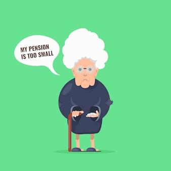 Traurige großmutter mit stock- und handvollmünzen in der hand