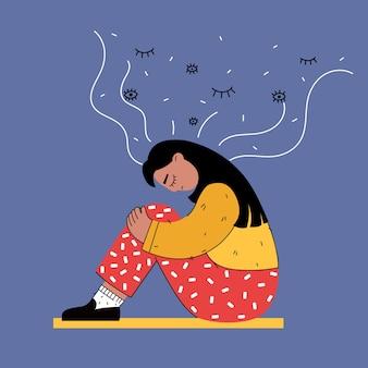 Traurige junge frau sitzt auf dem boden nachts isoliert im flachen stil. illustration.