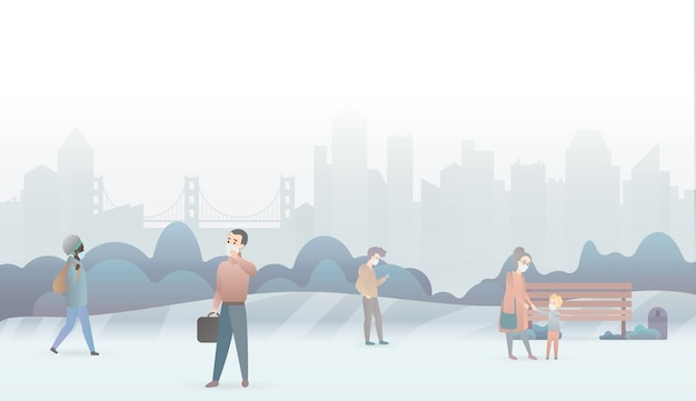 Traurige menschen leiden unter luftverschmutzung und tragen schutzmasken.