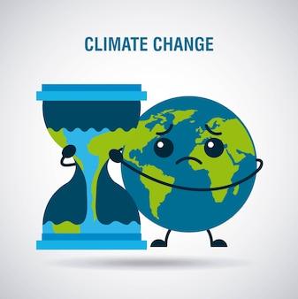 Traurige planetenerde-sanduhr der klimawandelkarikatur