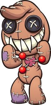 Traurige sitzende voodoo-puppe mit stecknadeln
