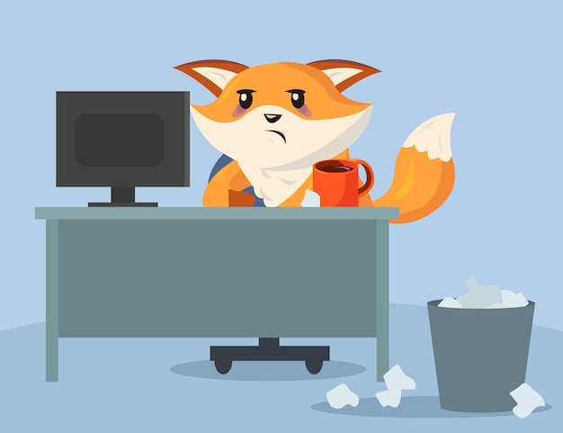 Traurige und müde karikaturfuchsfigur, die im büro sitzt