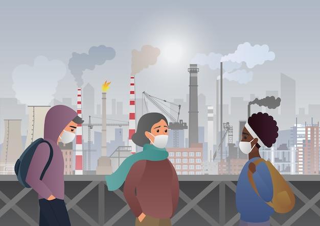 Traurige und unglückliche leute, die schützende gesichtsmasken auf fabrikrohren mit rauch auf hintergrund tragen