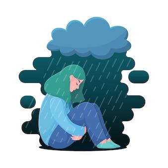 Traurige, unglückliche jugendliche, junge frau, die unter regen, krisenkonzept sitzt
