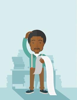 Trauriger afroamerikanerangestellter, der eine liste von verbindlichkeiten hält.