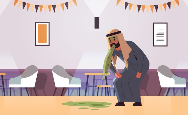 Trauriger arabischer mann erbrechen übelkeit magenschmerzen essen oder alkoholvergiftung verdauungsproblem konzept arabischer charakter kotzen sich krank krank modernes café interieur flach in voller länge horizontal