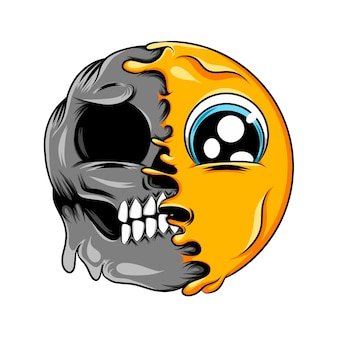 Trauriger ausdruck mit großen augen verwandelt sich in ein dunkles gesichts-emoticon