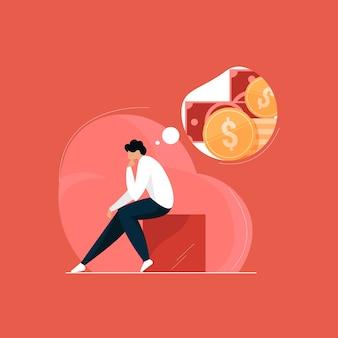 Trauriger geschäftsmann, der über geld nachdenkt, depression der finanziellen probleme