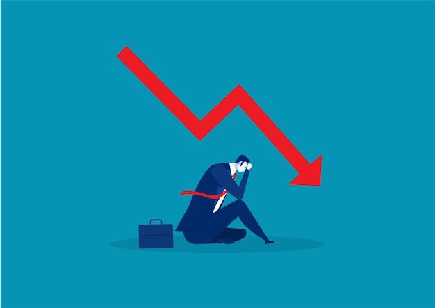Trauriger geschäftsmann scheitert mit dem fallen der finanzkrise des roten pfeilgraphen