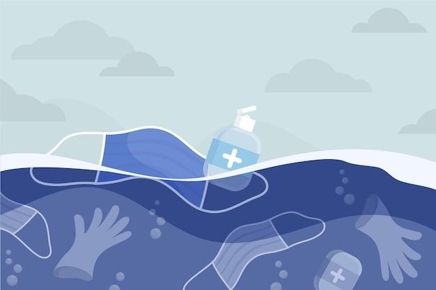 Trauriger hintergrund von coronavirus-abfällen im meer