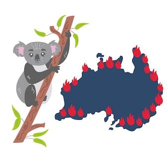 Trauriger koala sitzt eukalyptusbaum versteckt feuer