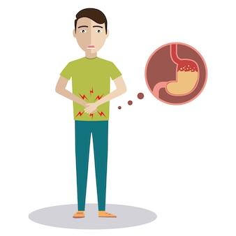 Trauriger kranker junger mann mit lebensmittelvergiftungs-magencharakter.