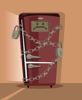 Trauriger kühlschrankcharakter, der mit der flachen karikaturillustration der kette verriegelt wird