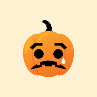 Trauriger kürbis reagieren emoji ikone halloween-vektor